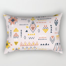Vintage ethnic elements hand drawn on pastel background illustration pattern Rectangular Pillow