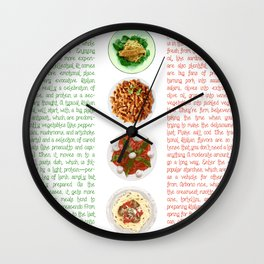 Italian Food Flag Wall Clock