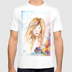 lady in bloom  White Mens Fitted Tee MEDIUM