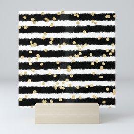Modern black watercolor stripes chic gold confetti Mini Art Print