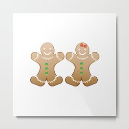 Gingerbread boy and girl Metal Print