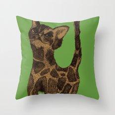 Giraffe Cat. Throw Pillow