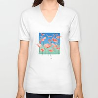 flamingos V-neck T-shirts featuring Flamingos  by Ninola