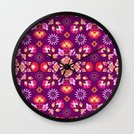 Fiesta Folk Purple #society6 #folk Wall Clock