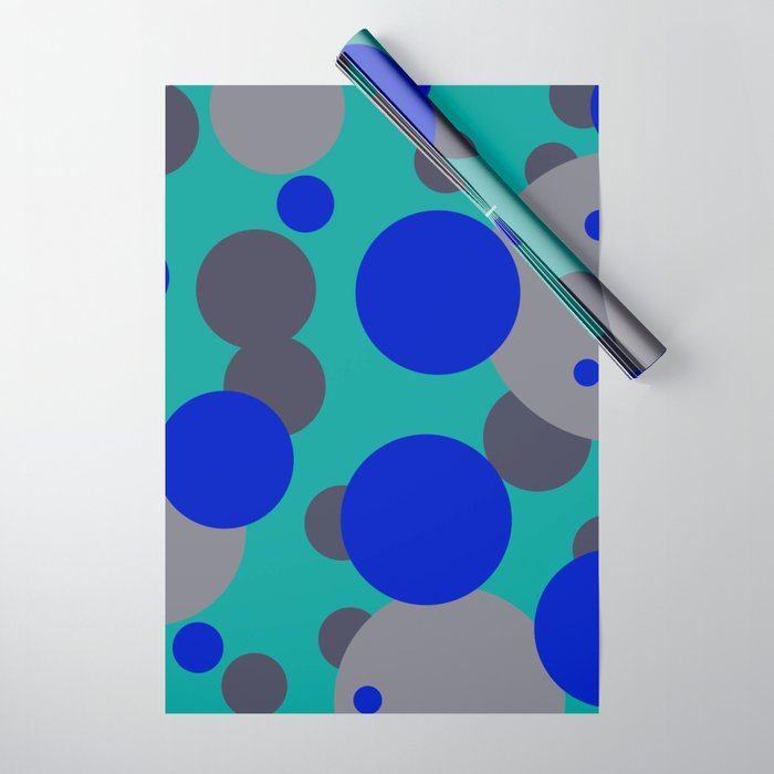 bubbles blue grey turquoise design Wrapping Paper