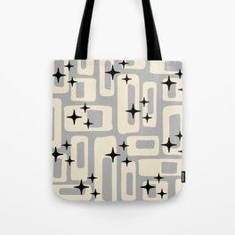 Retro Mid Century Modern Abstract Pattern 576 Gray Black Tote Bag
