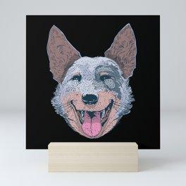 Funny happy dog face smiling dog head Mini Art Print