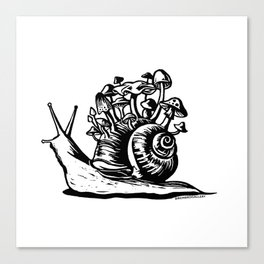 Mushroom Snail Linocut Canvas Print