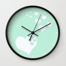 Mint Green Hearts of Love Wall Clock