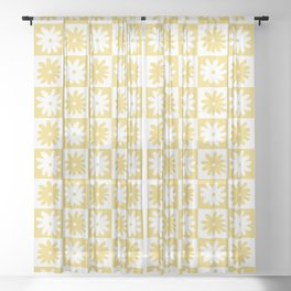Yellow And White Checkered Flower Pattern Sheer Curtain