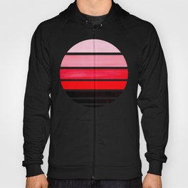 Red Mid Century Modern Minimalist Circle Round Photo Staggered Sunset Geometric Stripe Design Hoody
