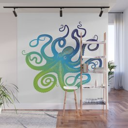 Head footed in Blue Wall Mural