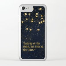 Look up at the stars,not down at your feet- gold glitter Typography on dark backround Clear iPhone Case