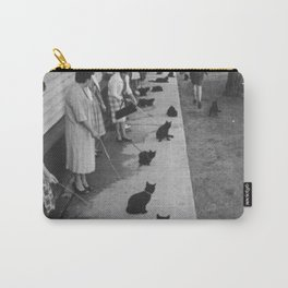 Black Cats Auditioning in Hollywood black and white photograph Carry-All Pouch