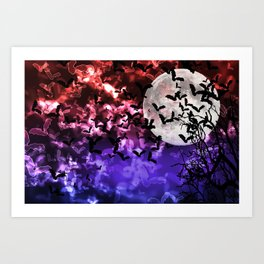 Bokeh Bats in Moonlight Art Print