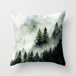 Foggy Mountains No. 2 - Misty Forest Watercolor Art Handpainted Landscape Art Wanderlust Painting Throw Pillow