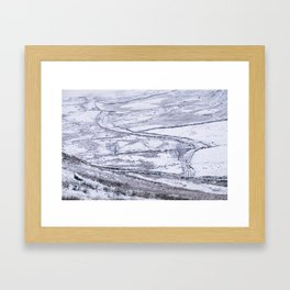 Mountain road covered in snow. 'The Struggle', road to Ambleside from the Kirkstone Pass. Framed Art Print