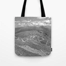 fisser yoke alps panorama serfaus fiss ladis tyrol austria europe black white Tote Bag