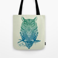 totem Tote Bags featuring Warrior Owl by Rachel Caldwell