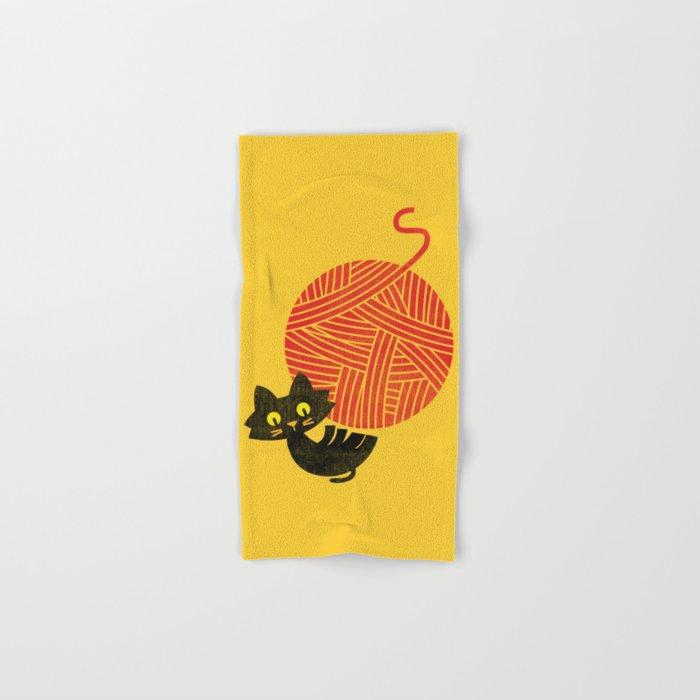 Fitz - Happiness (cat and yarn) Hand & Bath Towel