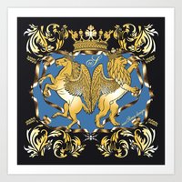 Horse & Leo Royal Blue Art Print