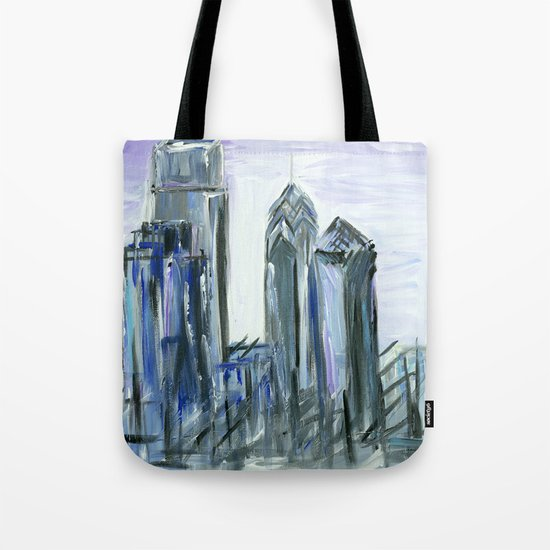 Gray Philadelphia Skyline Tote Bag