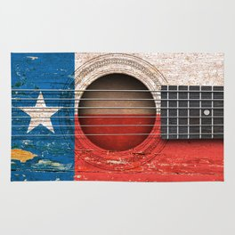 Old Vintage Acoustic Guitar with Texas Flag Rug