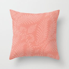 Fancy Light Pink Leaves Scroll Damask on Pantone Living Coral Throw Pillow