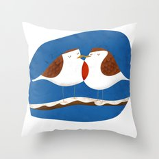 Robin X-mas Throw Pillow