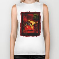 boxing Biker Tanks featuring Boxing Sagittarius by Genco Demirer