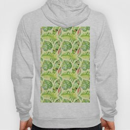 Hand painted green red watercolor tropical cheese leaves Hoody