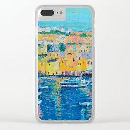 Fishing Boats of Genoa - palette knife city landscape Italy by Adriana Dziuba Clear iPhone Case