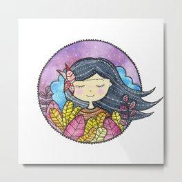 Watercolor Girl Metal Print