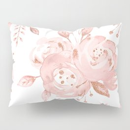 Roses Rose Gold Glitter Pink by Nature Magick Pillow Sham