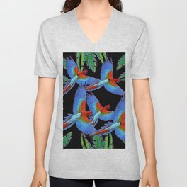 FLOCK OF JUNGLE BLUE MACAW PARROTS Unisex V-Neck