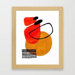 Mid Century Modern Abstract Vintage Pop Art Space Age Pattern Orange Yellow Black Orbit Accent Framed Art Print