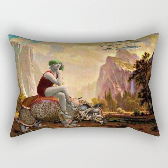 Lady and her Rhino Rectangular Pillow