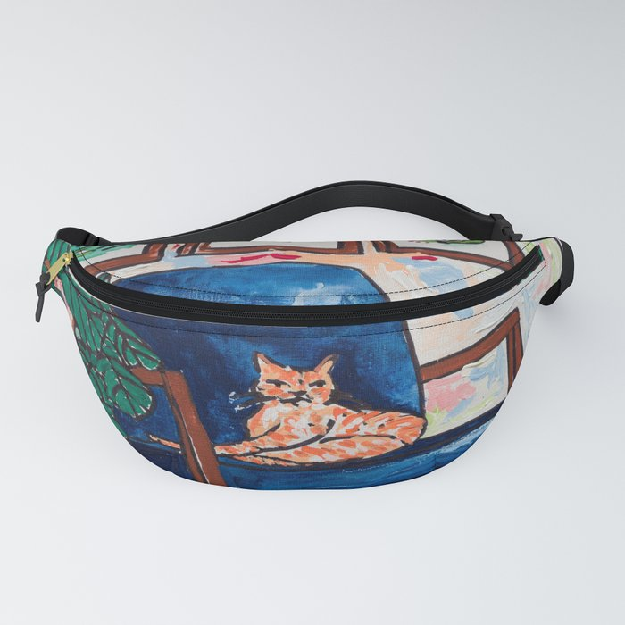 Ginger Cat on Blue Mid Century Chair Painting Fanny Pack