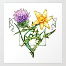 Thistle and Daffodil Art Print