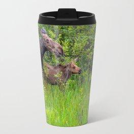 Moose and calf by Teresa Thompson Travel Mug