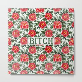 Bitch - Vintage Floral Tattoo Collection Metal Print