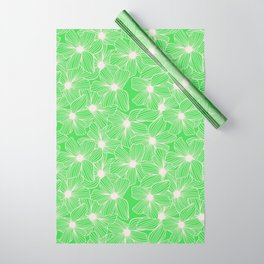 02 White Flowers on Green Wrapping Paper