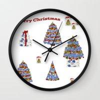 cape cod Wall Clocks featuring Merry Christmas Cape Cod by KarenHarveyCox