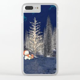 Magical Reindeer Christmas Forest Clear iPhone Case
