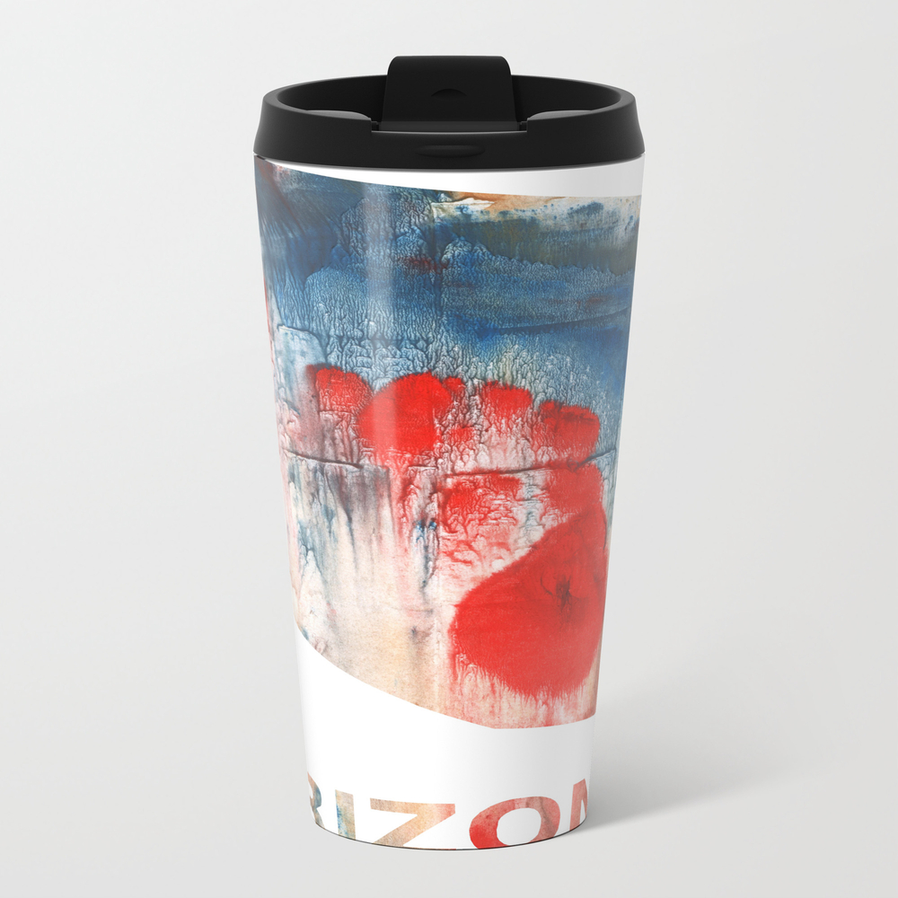 Arizona Map Outline Red Blue Nebulous Watercolor Travel Cup TRM8682495