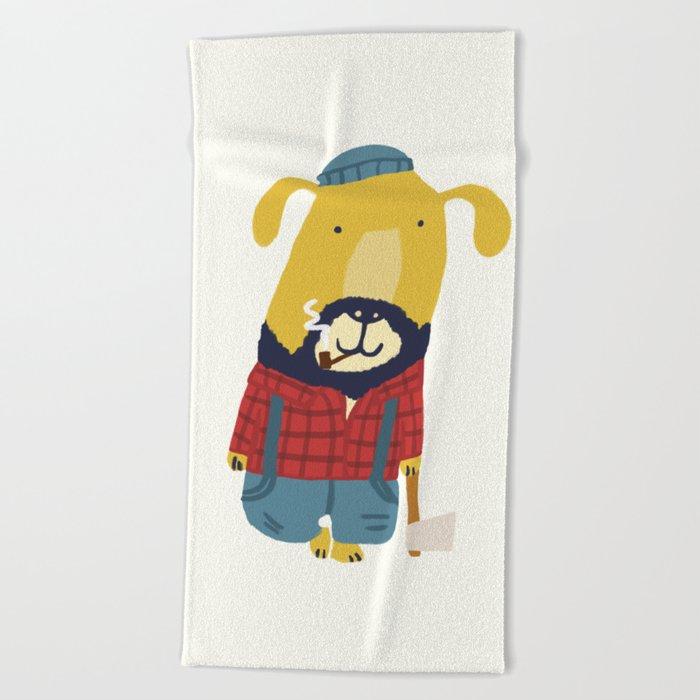 Rugged Roger - the lumberjack Beach Towel