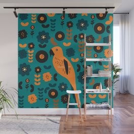 Parrot and flowers Wall Mural