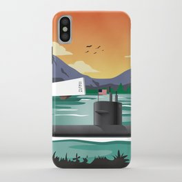 Pearl Harbor, HI - Retro Submarine Travel Poster iPhone Case