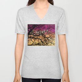 great horned owls at sunset Unisex V-Neck