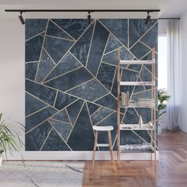 Soft Dark Blue Stone Wall Mural